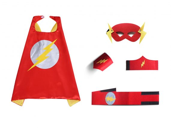 flash cape and mask for kids red with 2 wristbands and 1 waistband