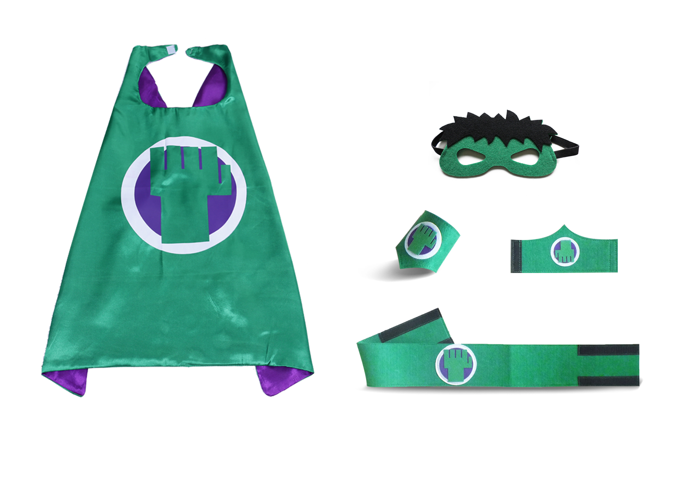 Super Hero The Incredible Hulk Costume Cape Mask Sets for Children Birthday Party Cosplay