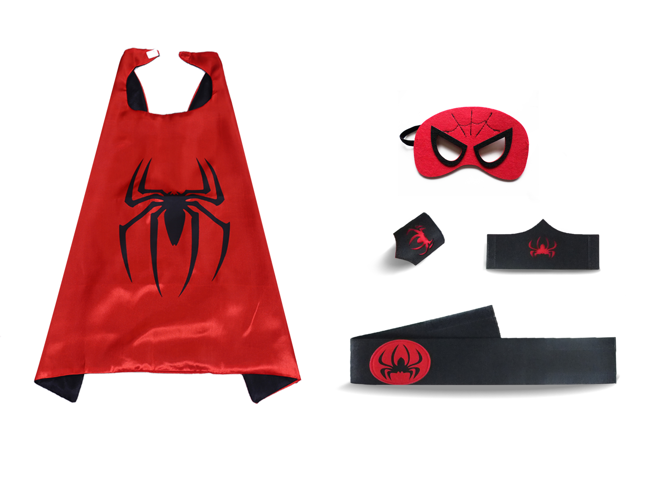 Red Spiderman Super Heros Cape And Mask Sets For Kids