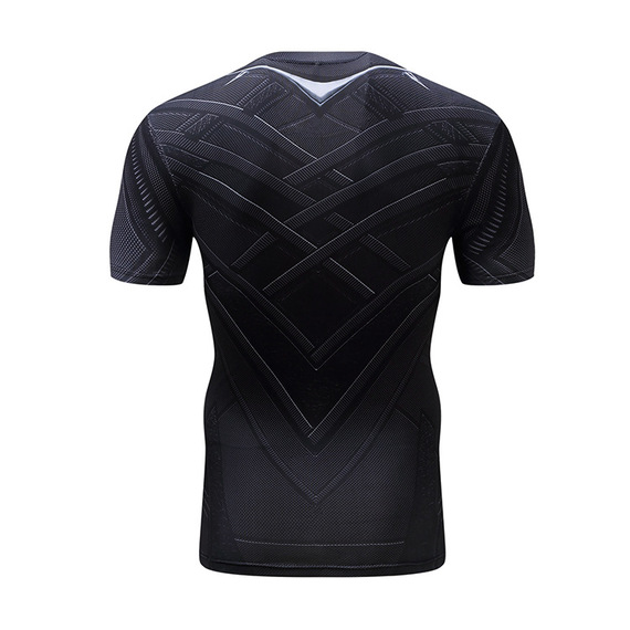 black panther workout shirt short sleeve compression party halloween costume