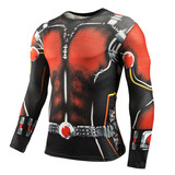 dri-fit Long Sleeve Ant Man Compression Shirt Crewneck Red