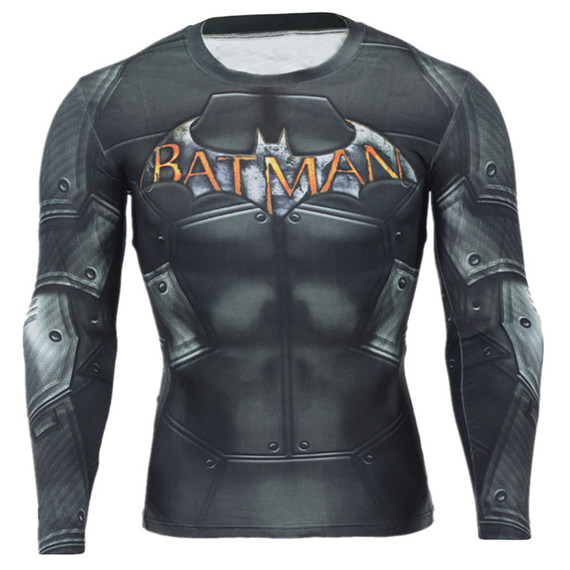 Cool batman gym shirt Long Sleeve superhero compression shirt