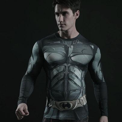 Long Sleeve dri fit Batman Compression Athletic Shirt