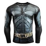 quick dry batman compression top Long Sleeve compression workouts shirt