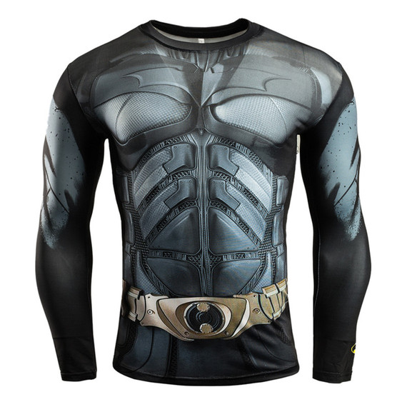 quick dry batman compression top Long Sleeve compression workouts shirt