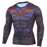 Long Sleeve BatMan Compression Shirt Red Front