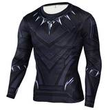 Long Sleeve Black Panther Compression Shirt Workouts Running Tee 01