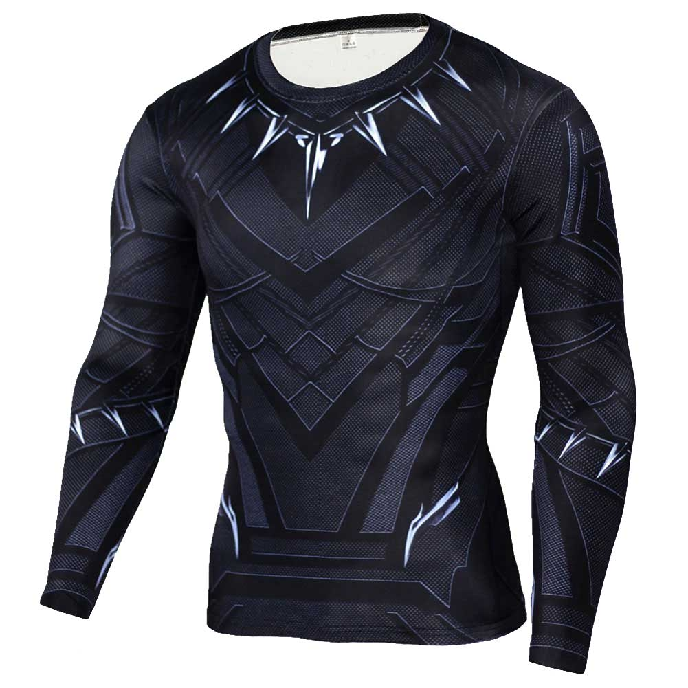 Long Sleeve Black Panther Compression Shirt Workouts Running Tee