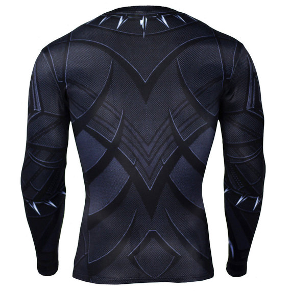 black panther party halloween costume long sleeve dri fit compression shirt