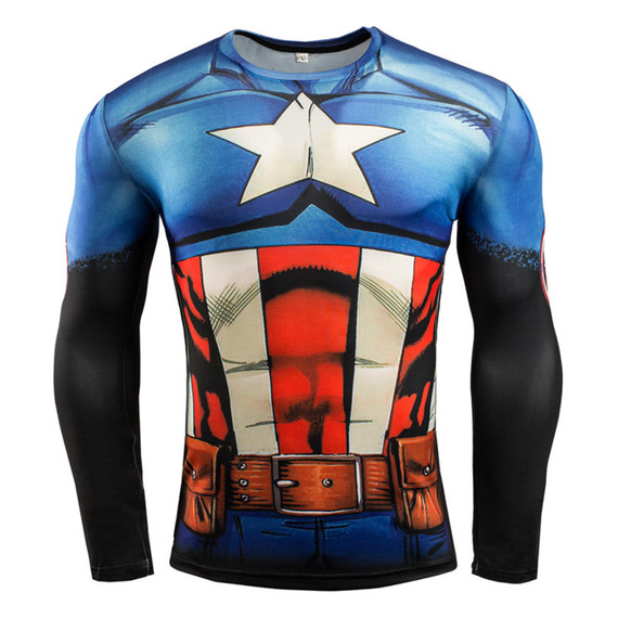 Long Sleeve Captain America Compression Athletic Shirt 01