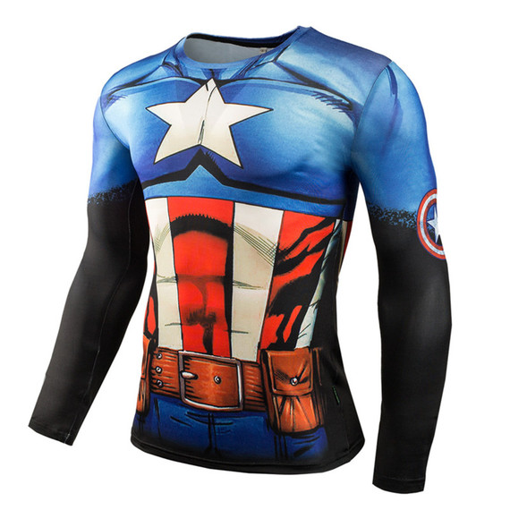 Long Sleeve Captain America Compression Athletic Shirt 02