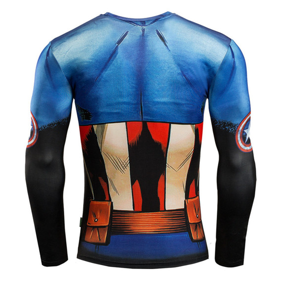 Long Sleeve Captain America Compression Athletic Shirt 03