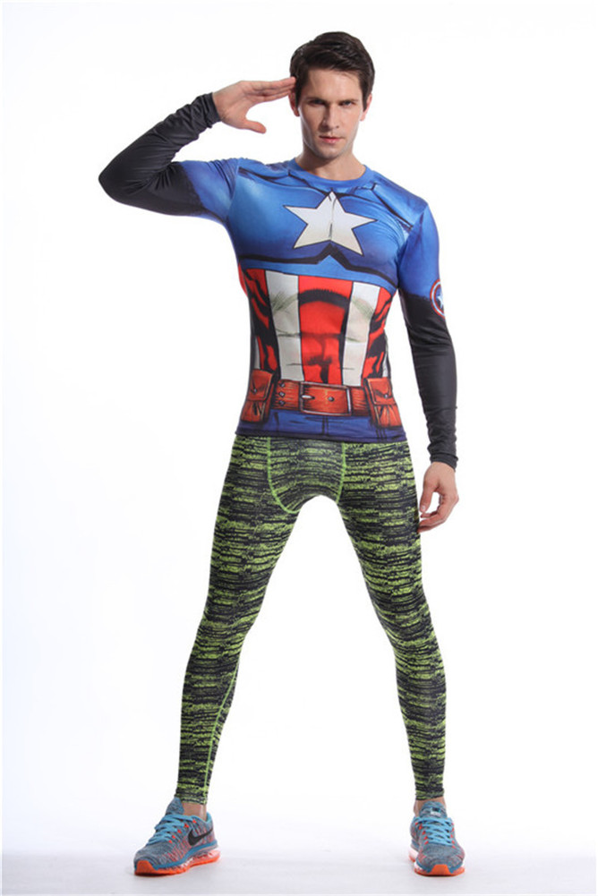Long Sleeve Captain America dri fit Compression Athletic Shirt blue