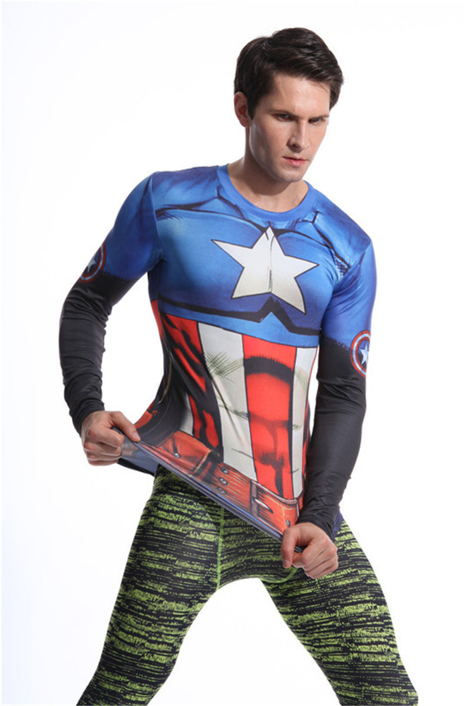 captain america dri fit t shirt long sleeve compression workouts shirt blue crewneck