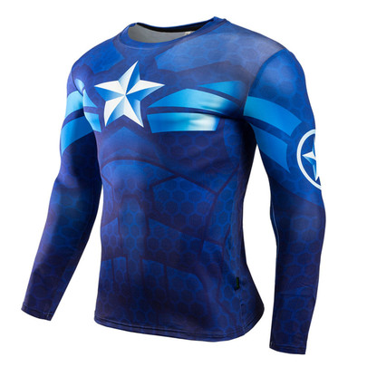 Long Sleeve Captain America Dri Fit Compression Workout Shirt Blue Crewneck