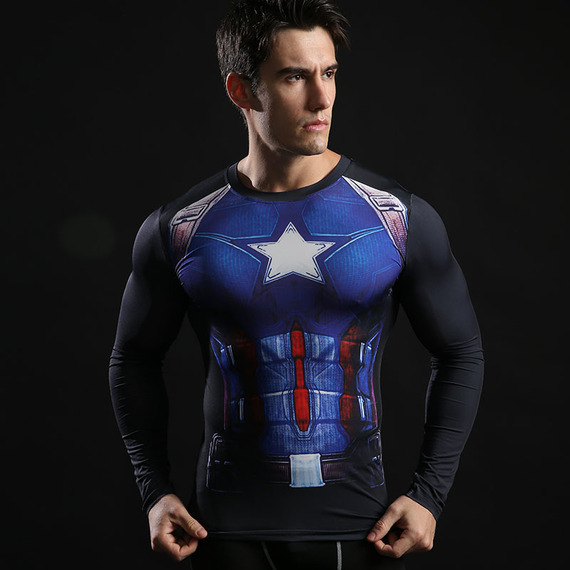 captain america long sleeve compression shirt dri fit super hero t shirt