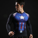 captain america athletic shirt long sleeve dri fit compression shirt blue
