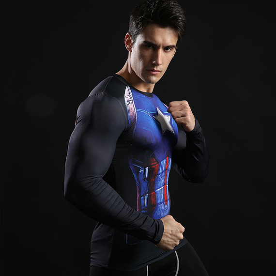 Long Sleeve Dri-Fit Captain America Compression Shirt