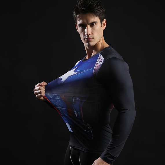 dri fit captain america gym shirt long sleeve compression shirt