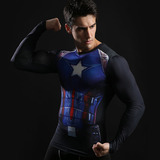 captain america long sleeve compression shirt Blue superhero tee