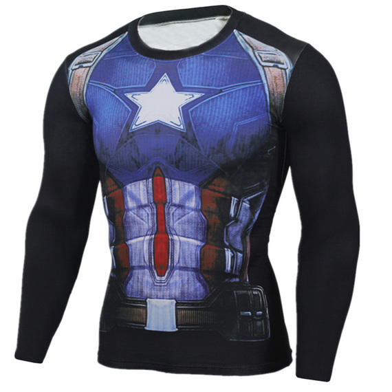 Long Sleeve captain america dri fit shirt O-neck blue