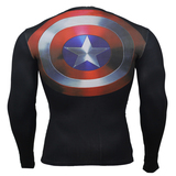 Long Sleeve Captain America Super Hero Dri-Fit Compression Shirt