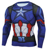 crewneck captain america dri fit t shirt long sleeve compression Workouts shirt Blue