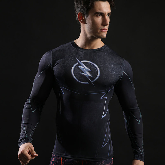 the flash sports shirt long sleeve dri fit superhero compression shirt Black