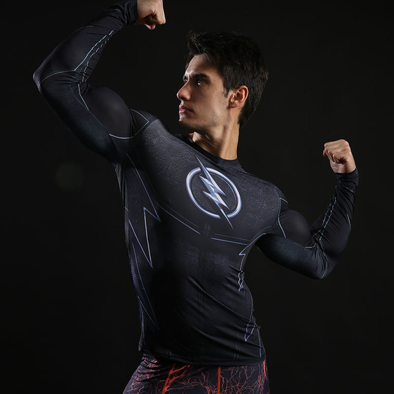 flash full sleeve t shirt dri fit superhero compression shirt for running black