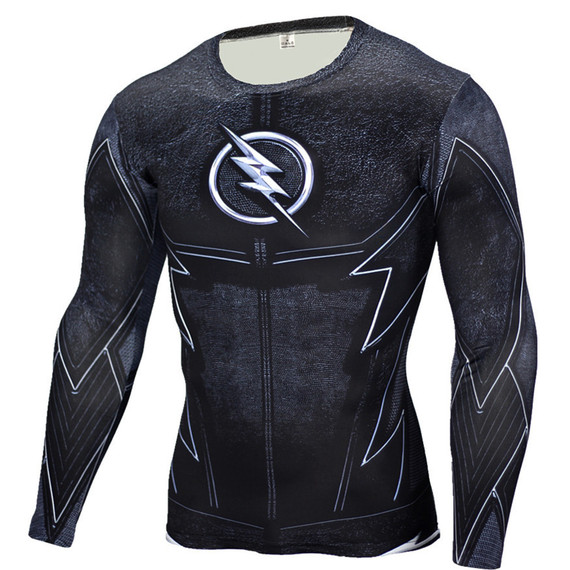 dri fit flash polyester shirt long sleeve superhero compression workouts shirt crewneck black