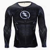 the flash athletic shirt Long Sleeve compression shirt for workouts crewneck black
