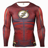 Long Sleeve red flash superhero compression shirt for workouts