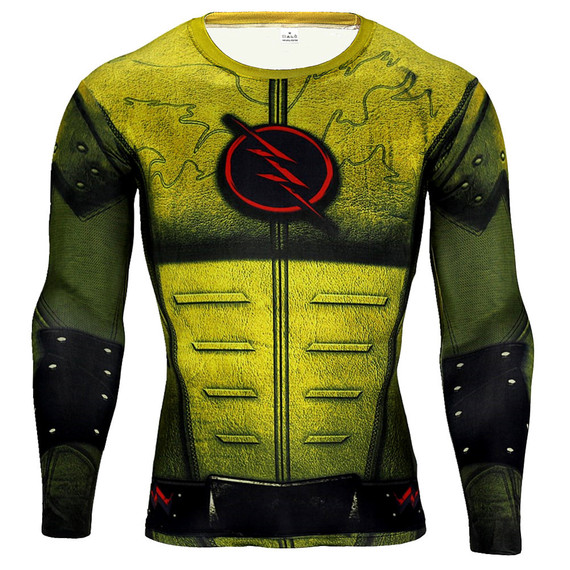 dri fit the flash sports shirt long sleeve compression shirt Yellow