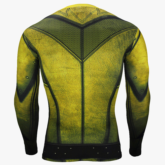 dri fit flash athletic t shirt long sleeve compression shirt Yellow