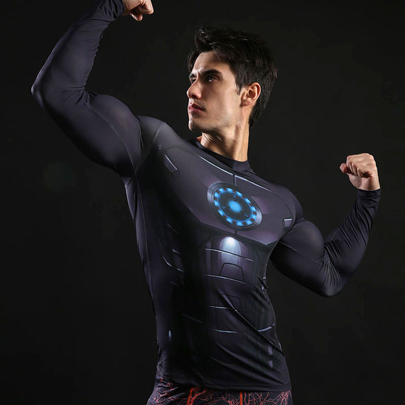 dri fit iron man workout shirt long sleeve compression shirt crewneck