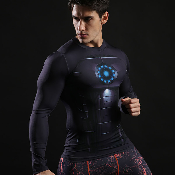 black iron man athletic shirt long sleeve dri fit compression shirt