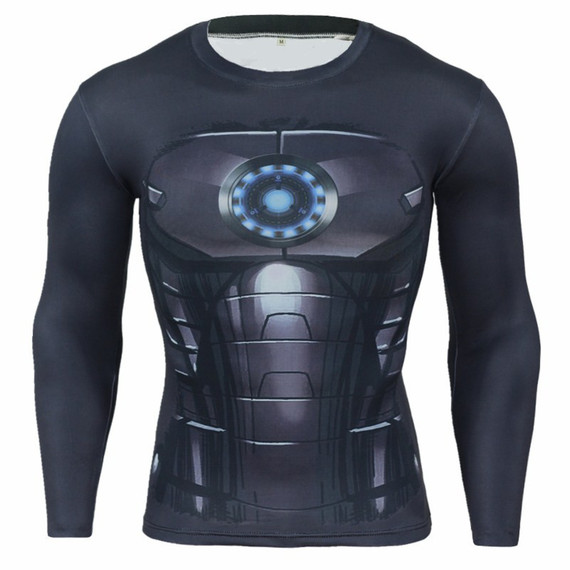 Super Heros Iron Man Long Sleeve Compression Running Shirt 06