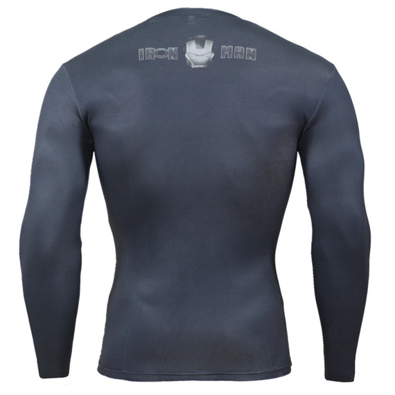 Super Heros Iron Man Long Sleeve Compression Running Shirt 07