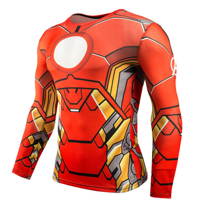 dri-fit red iron man workouts shirt long sleeve compression shirt