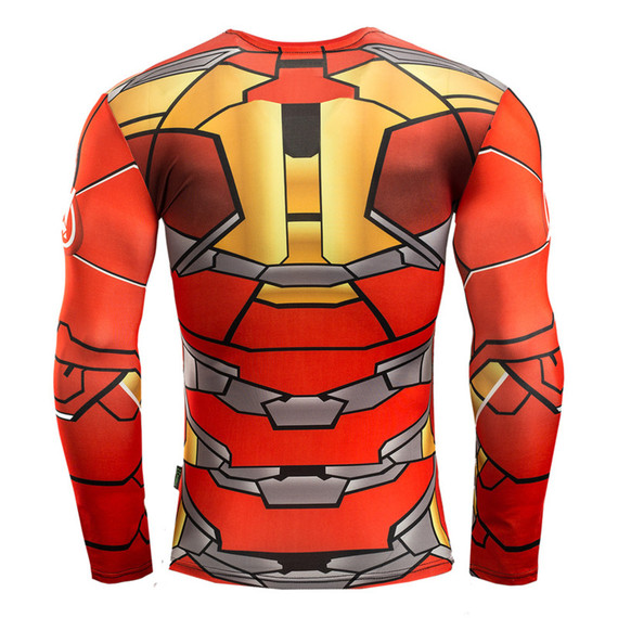 cool red iron man shirts long sleeve dri fit compression workouts shrit crewneck