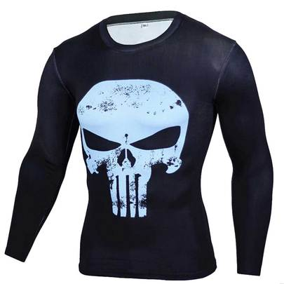 Long Sleeve Punisher Skull Compression shirt Blue