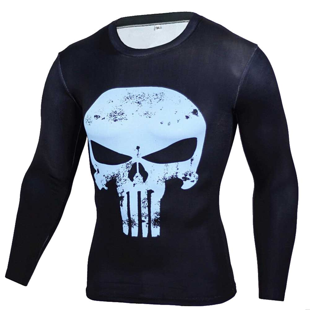 Long Sleeve Blue Punisher Skull Compression Workouts Tee Shirt