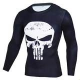 punisher cool dry compression shirt long sleeves white skull