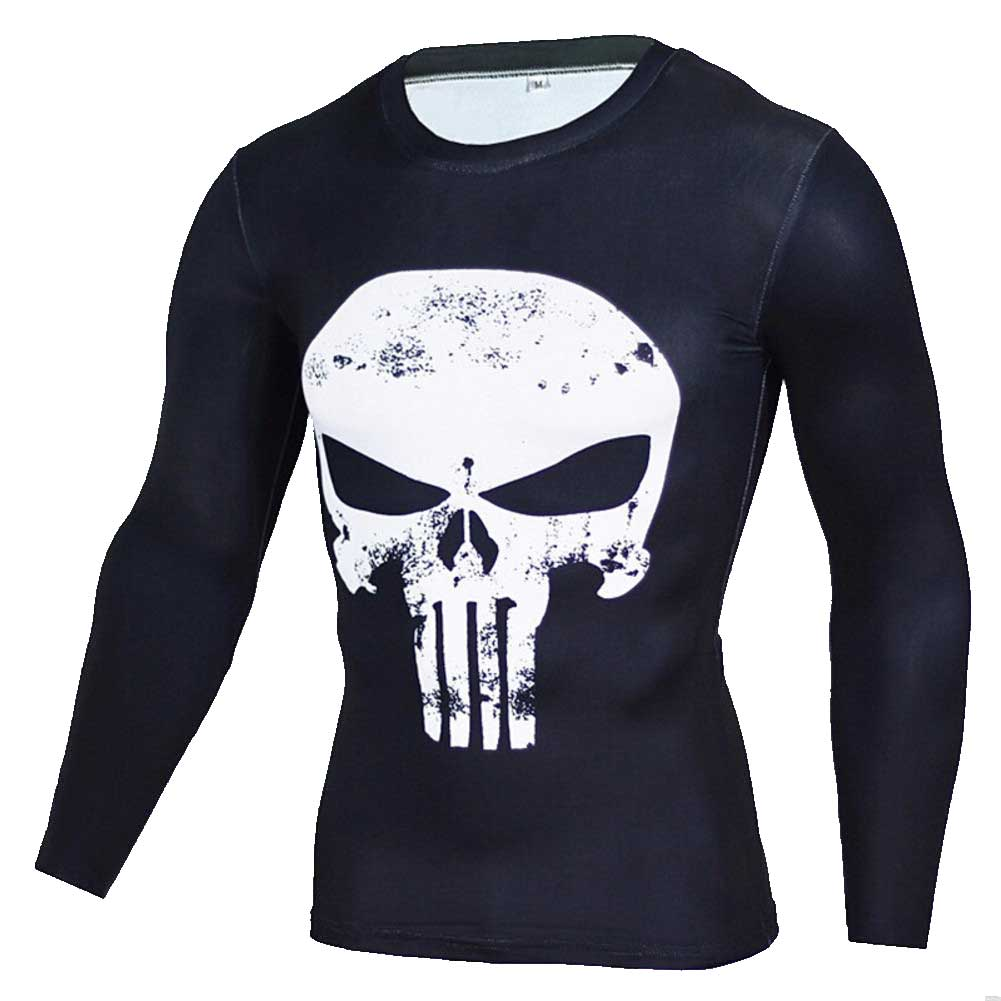 Long Sleeve White Punisher Skull Compression Running Tee Shirt