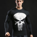 long sleeve quick dry punisher compression shirt white skull