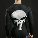 Long Sleeve dri-fit Punisher Skull Compression Running Tee Shirt White