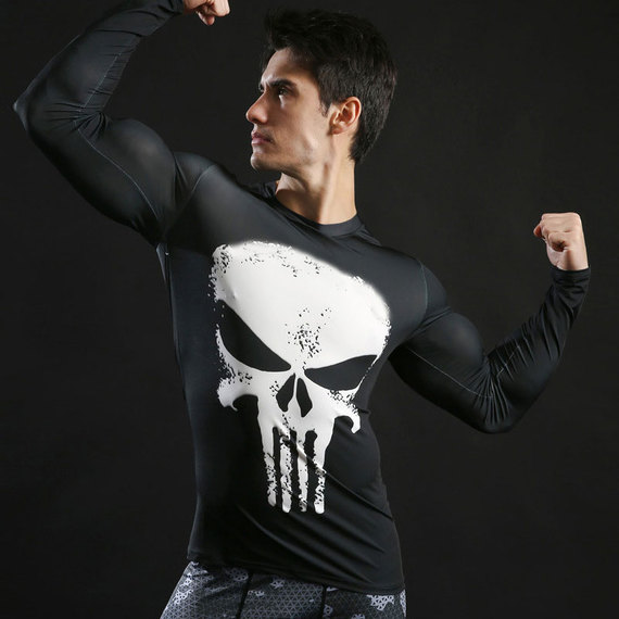 long sleeve punisher skull white compression shirt quick dry workouts t shirt