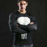Long Sleeve Punisher dri fit Compression Shirt Long Sleeve White
