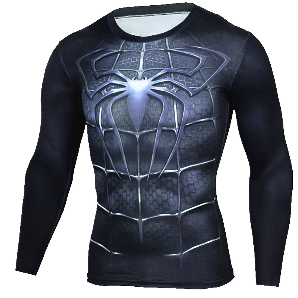 Long Sleeve black Spiderman Compression Runing Shirt 01