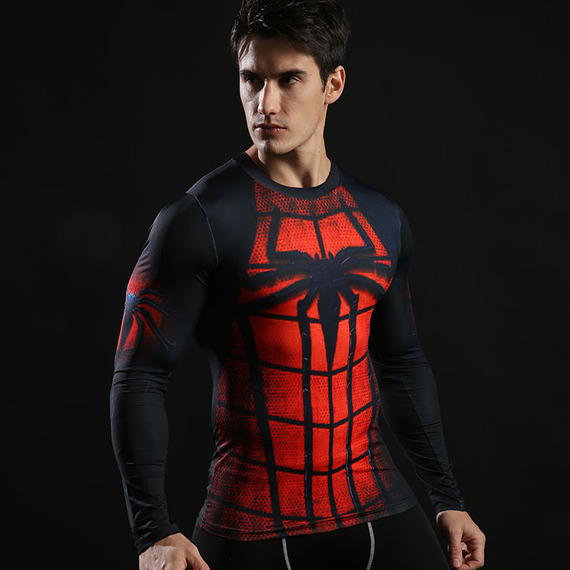 Long Sleeve Spider Man Compression Shirt Red